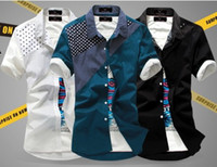 Wholesale Color Block Slim Dress for Men Male Polka Dots Short Sleeve Shirts Men s Slim Fit Top Blue Black White Shirt M L XL XXL MMJ610