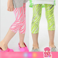 Wholesale Sharp Color Summer Girls Fluorescence Zebra Stripe Leggings Kids Tights Striped Pants Children Pink Green Tight Leggings Pants H0041