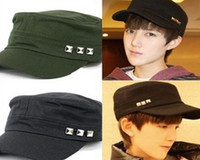 Ball Cap 4 colors in choice  Man 10 Pcs lot + New Unisex Men Women Retro Vintage Fashion Leisure Rivet Punk Styles Adjustable Cotton Flatcap Army hat Ball Caps Cap Hat