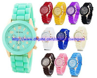 Wholesale 16 colors hot sale women men geneva watch rubber candy jelly fashion unisex silicone quartz wrist rose gold colored watches