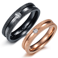 Couple Rings Men's Anniversary Free Shipping HOT SALE Stainless Steel Lover Rings Black and Rose Gold Couple Ring CZ stone Rings Engagement Rings 5sets lot#GJ364