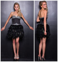 Reference Images Sweetheart Satin 2014 Mini Prom Party Dresses with Satin Corset Top Embellished with Crystal and Complemented with Feather Skirt Short Evening Cocktail Gowns