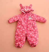 Wholesale Bunny Cute Bow Long Sleeve Toddler Baby Girls Boys Winter Thicken Warm Rompers Waterproof Snowsuits Children Kids Jumpsuit Playsuit B3406