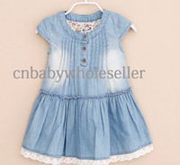 Girl Summer Sleeveless 2014 Wholesale Girl Dress Jeans Baby Dresses Atacado Roupas Infantil Washable Demin Cotton Dress Vest Casual Clothes Chirlren ClothGD40401-9