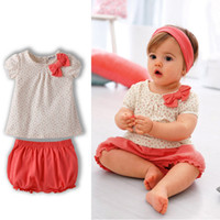 Wholesale new baby girl summer clothing set top orange pants print casual girl baby kids clothes sets in stock children s sets