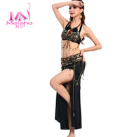 Belly Dancing Zebra-stripe Leather Mesa tribal belly dance suit new two-piece suit costume bra + girdle