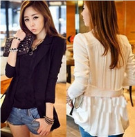 Wholesale new women s spring autumn medium long suit long sleeve jacket slim plus size chiffon thin coat Blazer