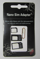 Wholesale mini sets in Nano Micro Sim Card Adapter black mini sim adapter in1 sim pin for iPhone samsung cell phone android cell phone