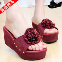 Women Platform Heel PU 2014 wedges high-heeled slippers flower sweet platform platform sandals