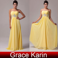 yellow ball gown prom dresses - Grace Karin Strapless A line Lace Up Chiffon Ball Gown Evening Prom Wedding Party Formal Long Dress Yellow CL6002