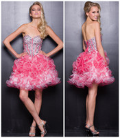 Ball Gown Reference Images Sweetheart Shine Bright Mini Prom Party Dresses with Ruffled Skirt and Corset Top Full of Beads Crystal 2014 Latest Graduation Homecoming Short Gowns w