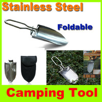 Wholesale Multi function Lightweight Hand Shovel Stainless steel shovel Garden Outdoors Camping Portable Mini Trowel Folding Shovel Spade L