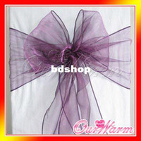 aubergine wedding - Purple Violet Aubergine quot x108 quot Organza Chair Sash Bow Wedding Banquet Supply Decorations Colors Hot