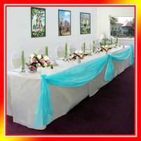 aqua valance - 1 Aqua Blue M M Sheer Organza Swag DIY Fabric Wedding Party Banquet Top Table Decor Stair Valance Bow New