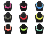 Wholesale 2014 New arrival top fashion women s statement necklace colors neon cotton rope hand made braided necklace chokers high quality hot sale
