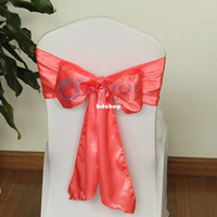 b chairs - B new shiny satin chair cover sashes coral wedding decoration