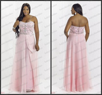 Reference Images Strapless Chiffon 2014 plus size Blush W 9764W Prom Dresses Aqua Crystal Pink full length strapless slit Long chiffon formal dress dance evening gowns Alexia