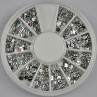 Black Round Rhinestone & Decoration 12 Different Designs 3D Acrylic Silver Crystal Rhinestones Wheel For Nail Art and Phone Decoration Clear 2MM to 3MM