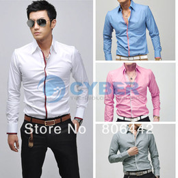 Wholesale 2012 New Korean Fashion Stylish Casual shirts Slim Fit Long Sleeve Men s Shirt Tops Color Size