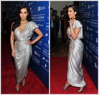 Reference Images Ankle-Length Sheath/Column 2014 Kim Kardashian Deep V Neck Pageant Dresses Short Sleeve Ankle Length Satin Silver Red Carpet Celebrity Pleats Pick-ups Prom Gown