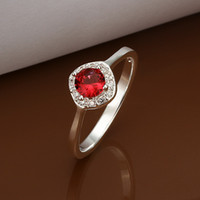 Wholesale Fashion Silver Cute Red Round Gemstone Ring Zircon Ring Diamond Ring Size