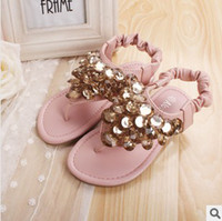 Girl shoe clips - New Arrival Kids Sandal Summer Hot Sale Girl Beaded Shoes Korean Style Paillette Girl Toe Clip Princess Sandal