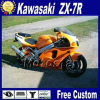 Wholesale ABS fairing set for KAWASAKI Ninja ZX R ZX7R black orange fairings kit ZX R motorcycle parts WT38 gifts