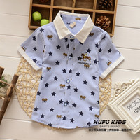 Boy baby horses sale - Hot Sale New Baby boys shirt short sleeve lapel with star printing horse embrodery colors Summer Shirts