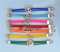 american flag symbols - Fluorescence Color Leather Bracelet Leopard Love Peace Symbol Infinity Clasp Charm Bracelets Wristbands Personalized Jewelry SZ267
