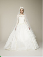 Wholesale DAW0002 Luxurious Ball Gown Long Sleeve Lace Muslim Wedding Dress Bridal Gown