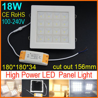 18W No LED DHL Free shipping High power Led Panel Light 18W 1350LM 100-240V Led Ceiling Bulb LED lamp spotlight downlight White Warm White CE RoHS