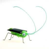 Big Kids Green Metal 2014!!! New Item Funny Solar Powered Grasshopper Robot insect Toy gift Educational Solar Grasshopper 10pcs lot SG Post GT0002
