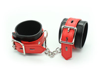 Wrist & Ankle Cuffs Unisex  Yeas basic design Black pu leather wrist cuffs and ankle cuffs with red straps Bondage gear sex toy Freeshipping