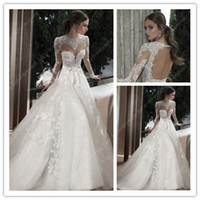 A-Line Reference Images High Collar 2014 Lovely Wedding Dresses High Neck Backless A Line Organza Lace UK Berta Bridal Gowns Dress with Long Sleeve Appliques 0411