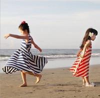 Summer baby clothes wholesale - summer children s clothing girls dress kids baby striped beach dresses APR508 LIU