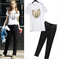 Wholesale Real Photos New Arrival O Neck Short Sleeves Tiger Printed T Shirts with Long Pants Twinset