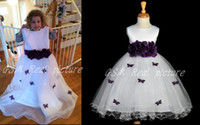 Wholesale Lovely White Jewel purple Handmade Flower and Butterfly in Bodies Flower Girls Dresses Ribbon Child Pageant Gowns Custom Made