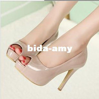 Wholesale Nude color genuine leather women s pump shoes fashion platform open toe shoe high heeled shoes thin heels women pumps shoes