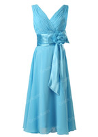 Wholesale Grace Karin Deep V Neck Chiffon Sky Blue Short Ball Evening Prom Party Dresses CL6015