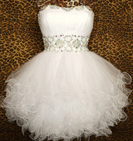 Wholesale 2014 Custom Made Ball Gowns Sweetheart White Sequins Short Graduation Dresses Tulle Cocktail Prom Evening Homecoming Dress Gown