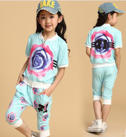 Summer Children Girls Rose Printed Zipper Short Sleeve Hoodi...