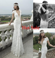 Trumpet/Mermaid Reference Images V-Neck Berta Bridal Winter 2014 Collection Wedding Dresses Bridal Gown With Plunging Neckline Cap Sleeves Backless Lace Crystal Floor-Length