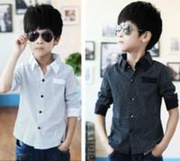 clothes for kids - Casual Clothing For Big Boys Children Shirt Korean Style Long Sleeve Polka Dot Turn Down Collar Boys Shirt Spring Kids Big Size Cloth I0042