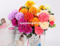 Wholesale HOT cm quot Length Pink Purple Orange Yellow Artificial Simulation Clove Carnation Six Stems per Bush Wedding Flower