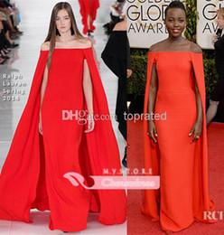 Wholesale 2014 The st Golden Globe Awards Lupita Nyong o Red Carpet Dress Celebrity Dresses With Cloak Off Shoulder Draped Sweep Train Dress Sku