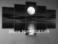 Wholesale hand painted oil wall art Sea full moon night home decoration abstract Landscape oil painting on canvas set mixorde