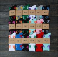 Wholesale 24pcs pair Cheap Summer Multicolour Cotton Marijuana maple H U F leaf thin styles weed plantlife skateboarding sport socks