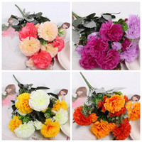 Wholesale 8Pcs cm quot Length Artificial Silk Flowers Simulation Clove Carnation Four Colors Six Stems per Bush Home Decoration Wedding Flower