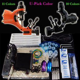Wholesale Pro Tattoo Kit Rorary Tattoo Machine Gun Power Supply Foot Pedal Needle Grip Tip U Pick Gun