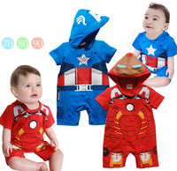summer clothes for men - Hot Summer clothing for toddler red blue iron man captain america cartoon short sleeve baby modelling romper infant hoodie jumpsuit